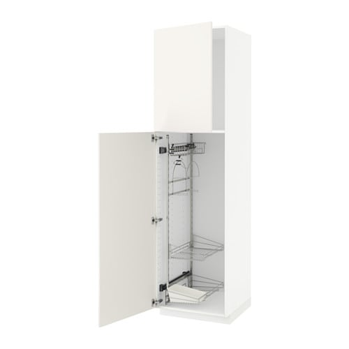 Metod High Cabinet With Cleaning Interior Veddinge White