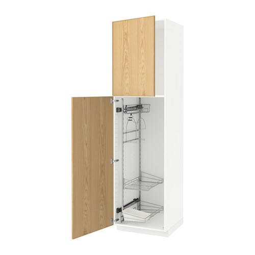 Metod high cabinet with cleaning interior white ekestad oak 60x60x220 cm ikea - Cleaning inside kitchen cabinets ...