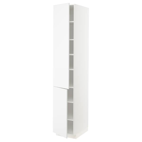 METOD High cabinet with shelves/2 doors, white/Kungsbacka matt white, 40x60x220 cm
