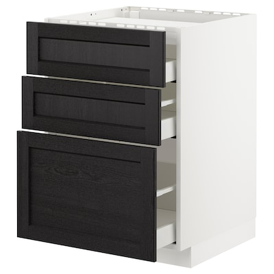 METOD / MAXIMERA Base cab f hob/3 fronts/3 drawers, white/Lerhyttan black stained, 60x60x80 cm