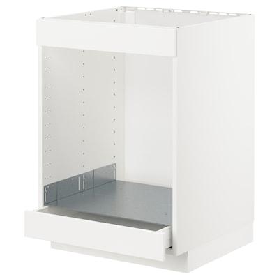 METOD / MAXIMERA base cab for hob+oven w drawer white/Kungsbacka matt white 60.0 cm 61.6 cm 60.0 cm 80.0 cm