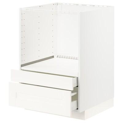 METOD / MAXIMERA Base cabinet f combi micro/drawers, white/Sävedal white, 60x60x80 cm