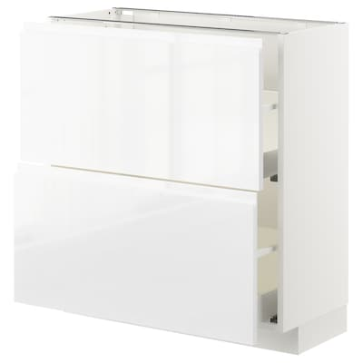 METOD / MAXIMERA base cabinet with 2 drawers white/Voxtorp high-gloss/white 80.0 cm 39.1 cm 88.0 cm 37.0 cm 80.0 cm