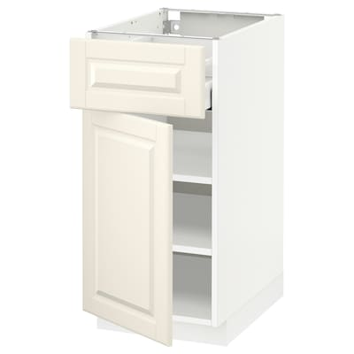 METOD / MAXIMERA Base cabinet with drawer/door, white/Bodbyn off-white, 40x60x80 cm