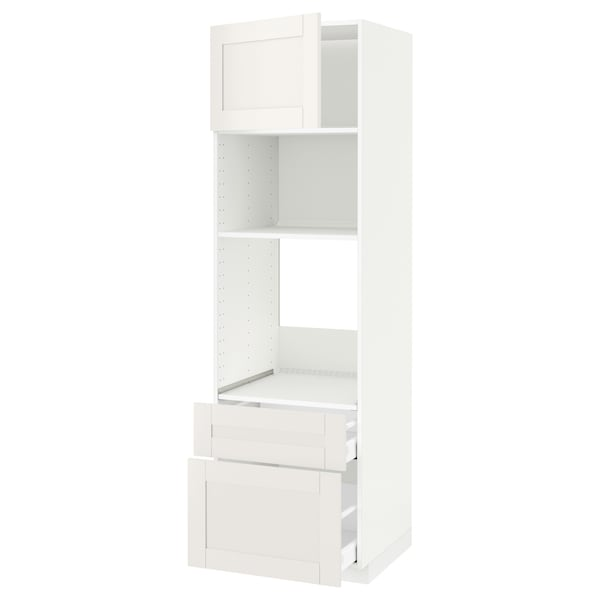 METOD / MAXIMERA High cab f oven/micro w dr/2 drwrs, white/Sävedal white, 60x60x200 cm