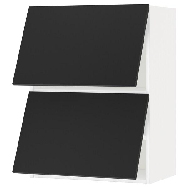 METOD Wall cab horizo 2 doors w push-open, white/Uddevalla anthracite, 60x37x80 cm