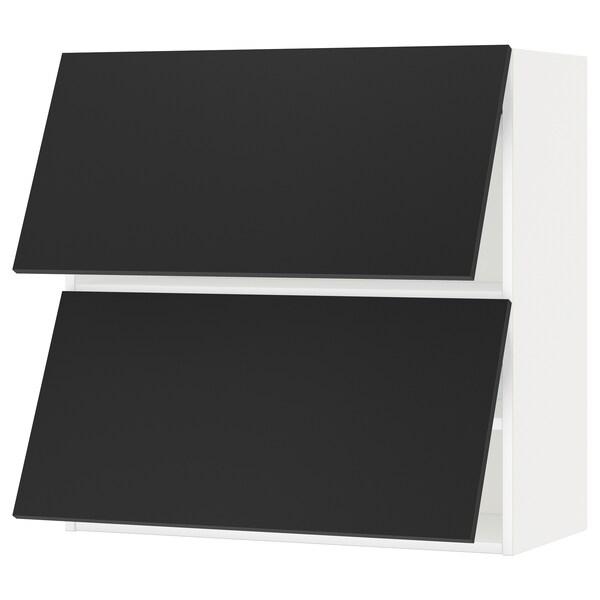 METOD Wall cab horizo 2 doors w push-open, white/Uddevalla anthracite, 80x37x80 cm