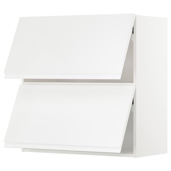 METOD Wall cab horizo 2 doors w push-open, white/Voxtorp high-gloss/white, 80x37x80 cm