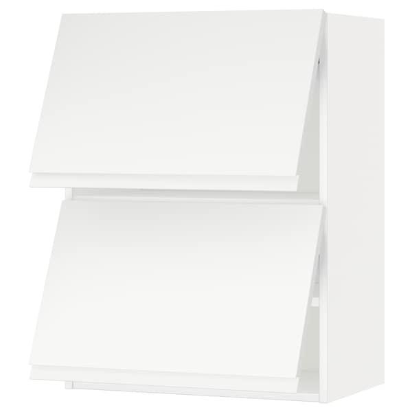METOD Wall cab horizo 2 doors w push-open, white/Voxtorp matt white, 60x37x80 cm