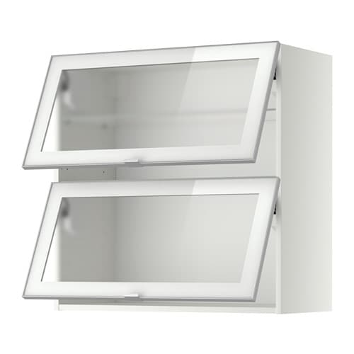 METOD Wall cab horizontal w 2 glass doors - white, Jutis ...