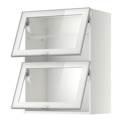 METOD wall cab horizontal w 2 glass doors, white, Jutis frosted glass