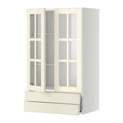 METOD wall cab w 2 glass doors/2 drawers, white Maximera, Bodbyn off-white