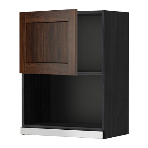 METOD Wall cabinet for microwave oven - wood effect black ...