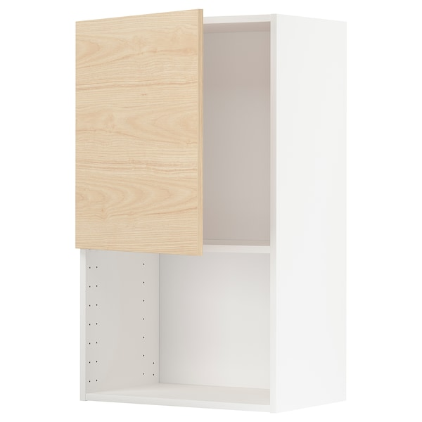 METOD Wall cabinet for microwave oven, white/Askersund light ash effect, 60x37x100 cm
