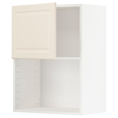 METOD wall cabinet for microwave oven white/Bodbyn off-white 60.0 cm 37 cm 38.9 cm 80.0 cm