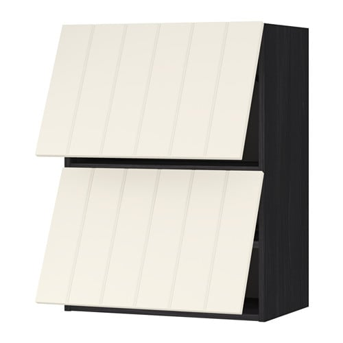 Metod Wall Cabinet Horizontal W 2 Doors Wood Effect Black Hittarp Off White 60x37x80 Cm Ikea