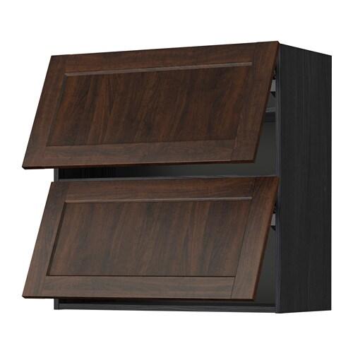 Metod Wall Cabinet Horizontal W 2 Doors Wood Effect Black Edserum Wood Effect Brown 80x37x80