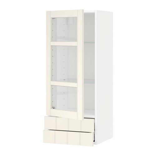 Metod Wall Cabinet W Glass Door2 Drawers Hittarp Off White