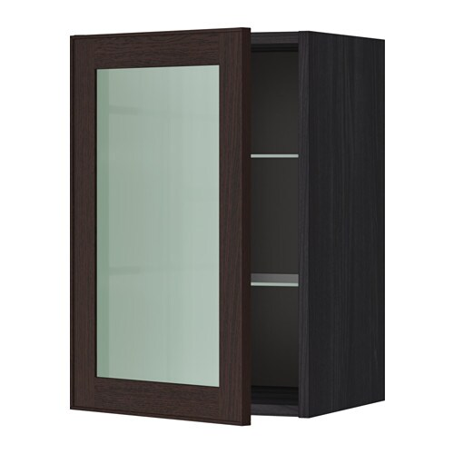 Metod wall cabinet w shelves glass door wood effect for Ikea glass door wall cabinet