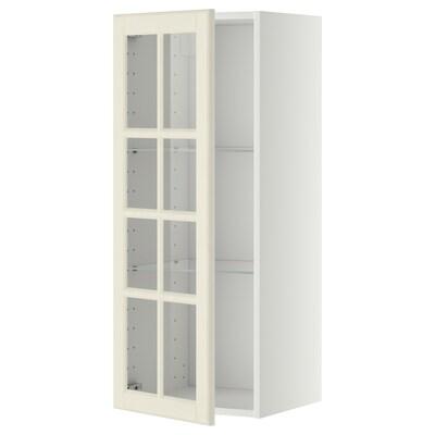 METOD Wall cabinet w shelves/glass door, white/Bodbyn off-white, 40x37x100 cm