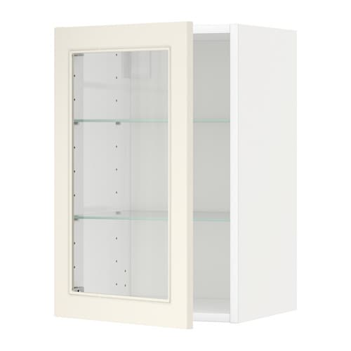 metod wall cabinet w shelves glass door white hittarp