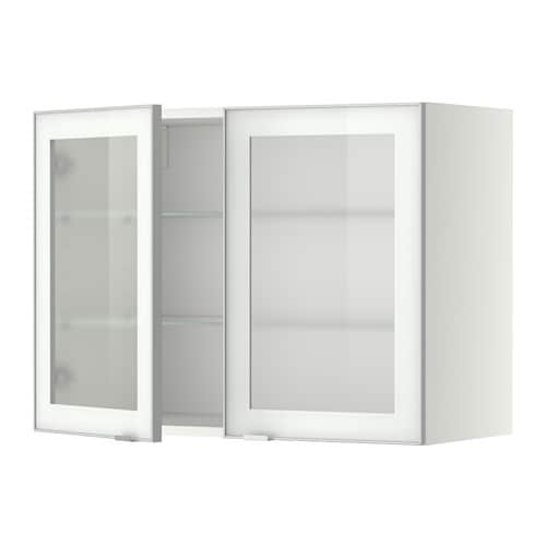 Ikea Alang Floor Lamp Nickel Plated White ~ METOD Wall cabinet w shelves 2 glass drs  white, Jutis frosted glass