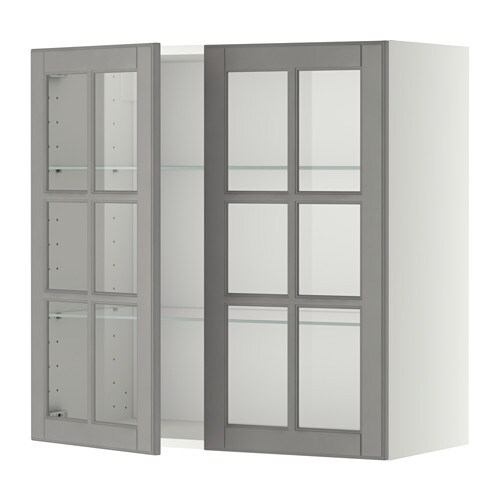 Metod Wall Cabinet With Shelves: METOD Wall Cabinet W Shelves/2 Glass Drs