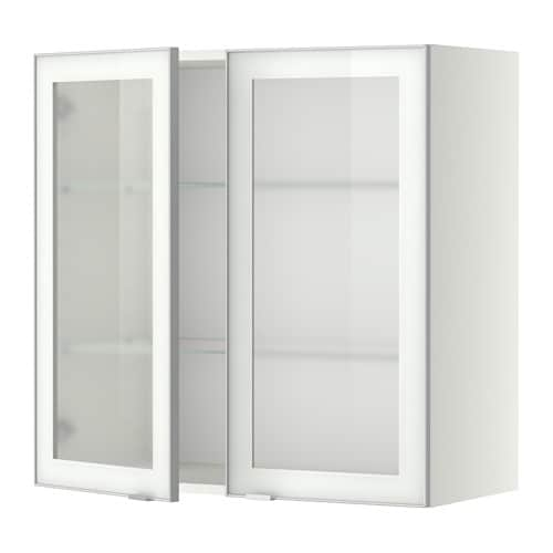 Securing Ikea Island To Floor ~ METOD Wall cabinet w shelves 2 glass drs  white, Jutis frosted glass