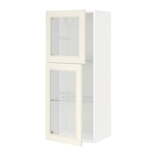 Metod wall cabinet w shelves 2 glass drs white hittarp for Off the shelf cabinets