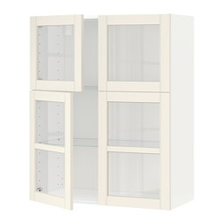 METOD wall cabinet w shelves/4 glass drs, white, Hittarp off-white