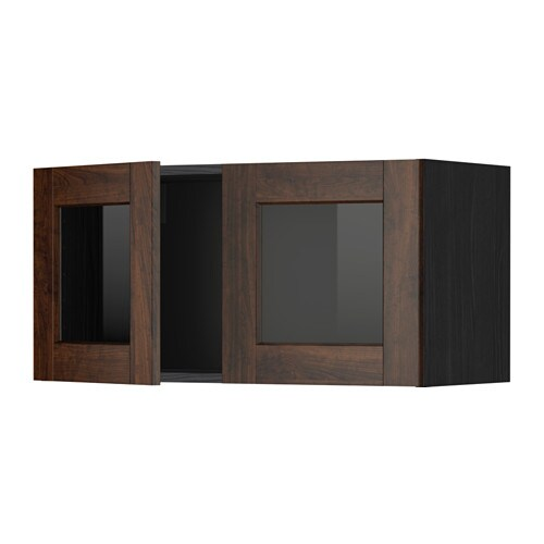 Metod Wall Cabinet With 2 Glass Doors Wood Effect Black