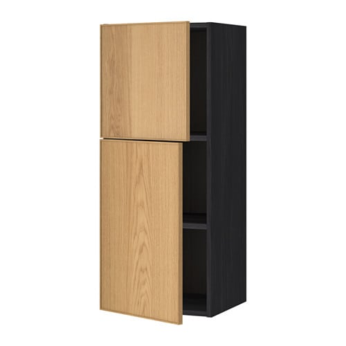 Metod wall cabinet with shelves 2 doors wood effect for Oak effect kitchen wall units