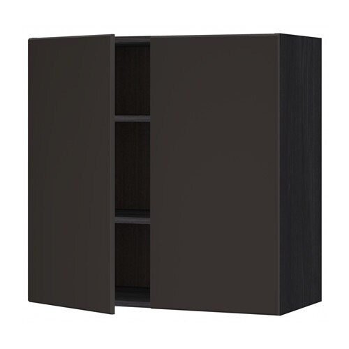 Metod wall cabinet with shelves 2 doors wood effect for Cuisine kungsbacka ikea