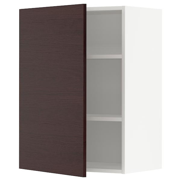 METOD Wall cabinet with shelves, white Askersund/dark brown ash effect, 60x37x80 cm