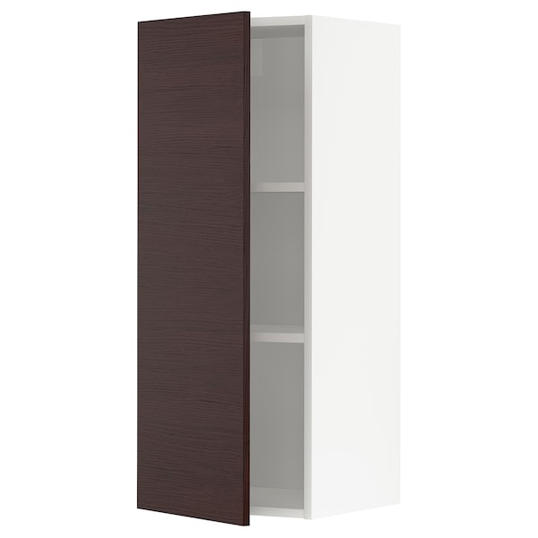 METOD Wall cabinet with shelves, white Askersund/dark brown ash effect, 40x37x100 cm