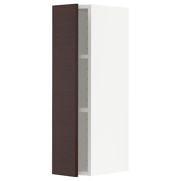 METOD Wall cabinet with shelves, white Askersund/dark brown ash effect, 20x37x80 cm
