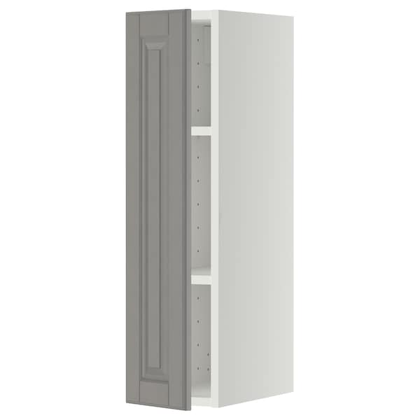 METOD Wall cabinet with shelves, white/Bodbyn grey, 20x37x80 cm
