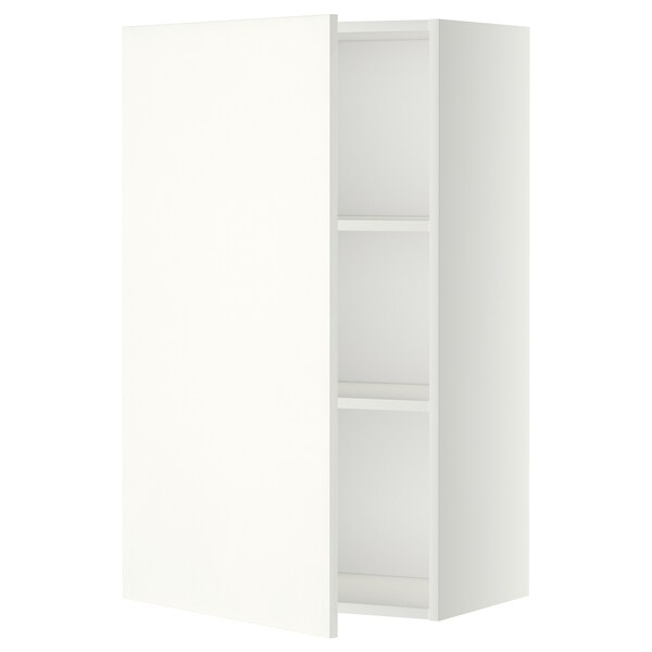 METOD Wall cabinet with shelves, white/Häggeby white, 60x37x100 cm