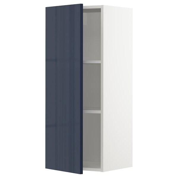 METOD Wall cabinet with shelves, white/Järsta black-blue, 40x37x100 cm
