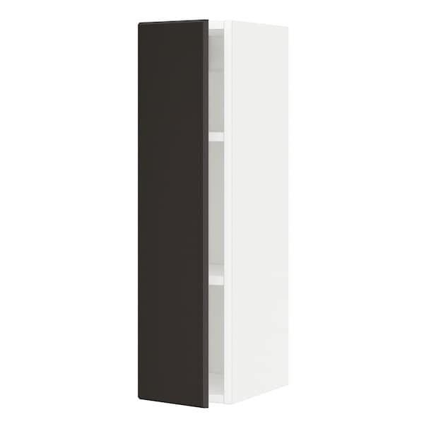 METOD Wall cabinet with shelves, white/Kungsbacka anthracite, 20x37x80 cm
