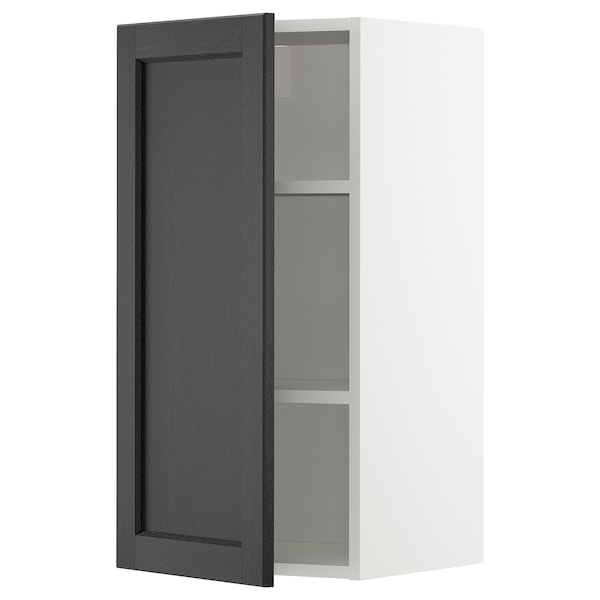 METOD Wall cabinet with shelves, white/Lerhyttan black stained, 40x37x80 cm