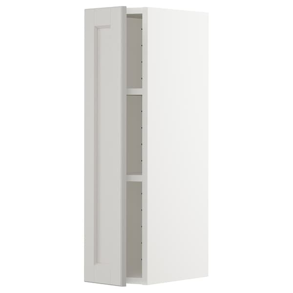 METOD Wall cabinet with shelves, white/Lerhyttan light grey, 20x37x80 cm