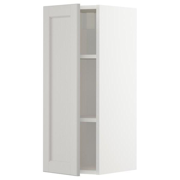 METOD Wall cabinet with shelves, white/Lerhyttan light grey, 30x37x80 cm