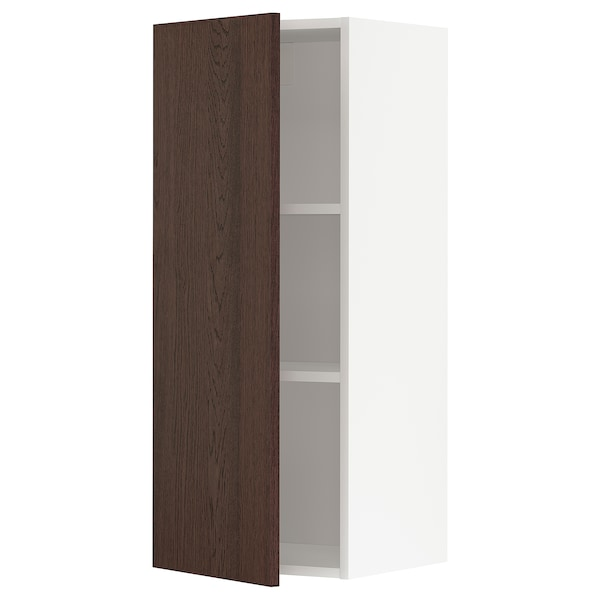 METOD Wall cabinet with shelves, white/Sinarp brown, 40x37x100 cm