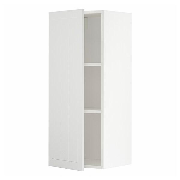 METOD Wall cabinet with shelves, white/Stensund white, 40x37x100 cm