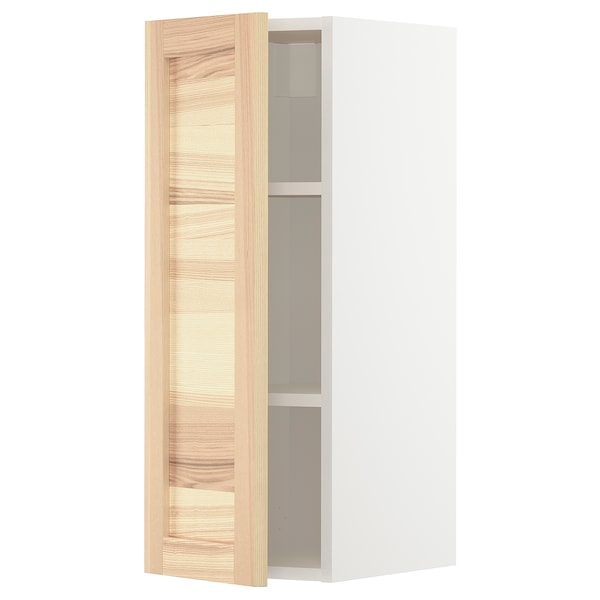 METOD Wall cabinet with shelves, white/Torhamn ash, 30x37x80 cm