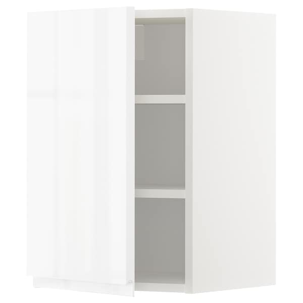 METOD Wall cabinet with shelves, white/Voxtorp high-gloss/white, 40x37x60 cm