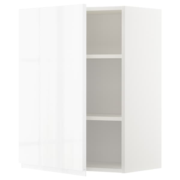 METOD Wall cabinet with shelves, white/Voxtorp high-gloss/white, 60x37x80 cm
