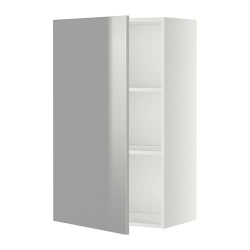 metod wall cabinet with shelves white grevsta stainless. Black Bedroom Furniture Sets. Home Design Ideas