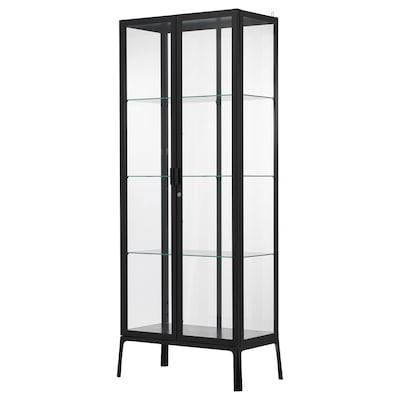 MILSBO Glass-door cabinet, anthracite, 73x175 cm